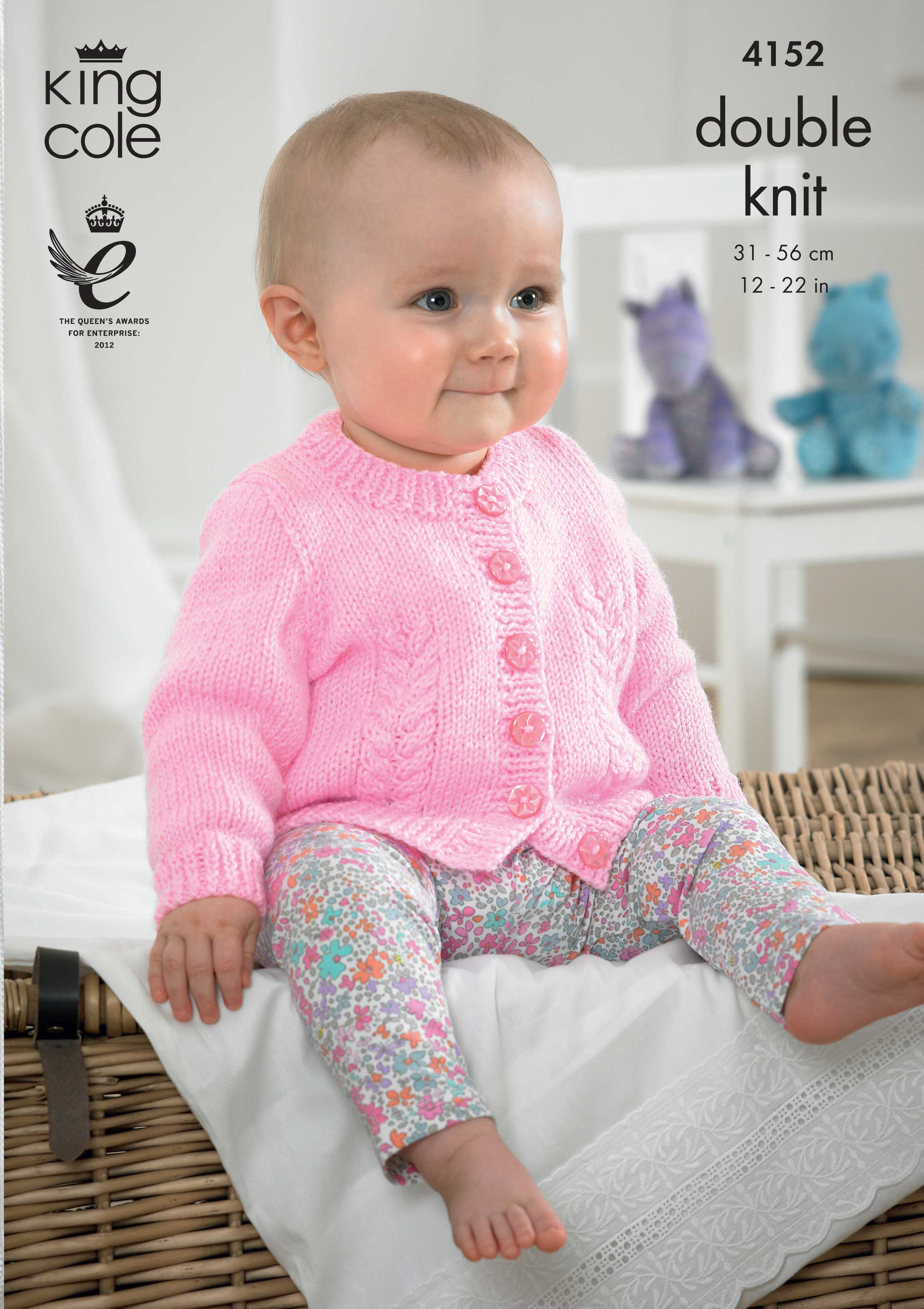 DK Baby Cardigan Knitting Pattern 4152 - King Cole