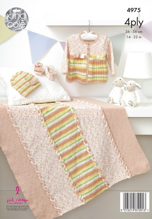 KNITTING PATTERN Baby Blanket Jacket Hat /& Shoes Baby Prints 4ply King Cole 4975