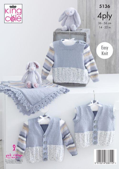 "King Cole DK Knitting Pattern 4246:Easy Knit  Cardigan /& Sweater: 20/""-30/"""