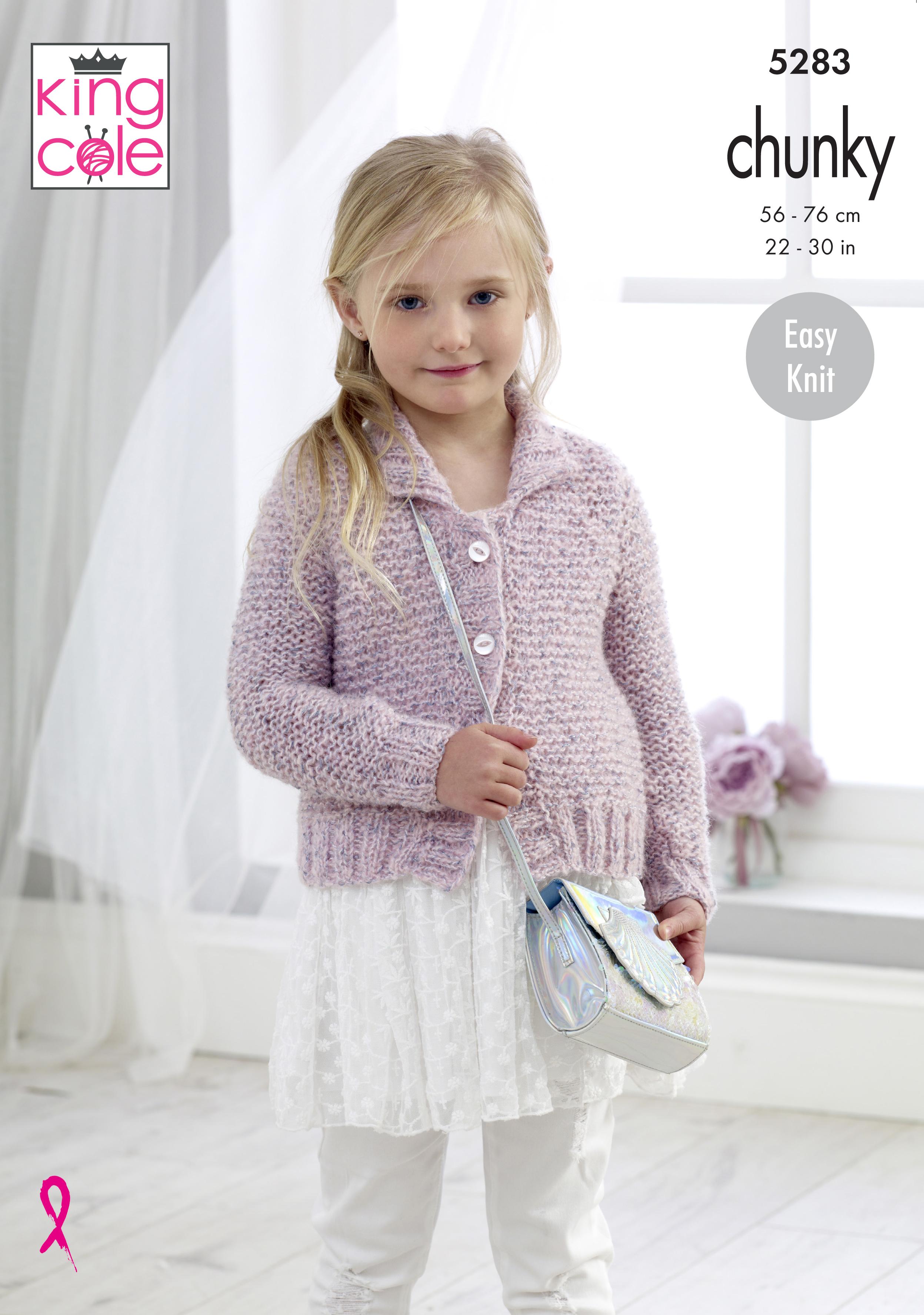 King Cole Chunky Knitting Pattern 5283:Easy Knit Cardigan /& Waistcoat