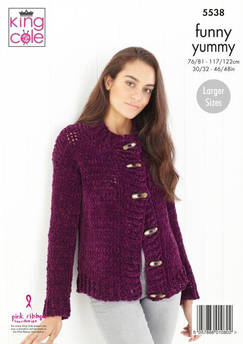 Knitting Pattern Womens Jumper /& Cardigan King Cole Funny Yummy Chunky 5538