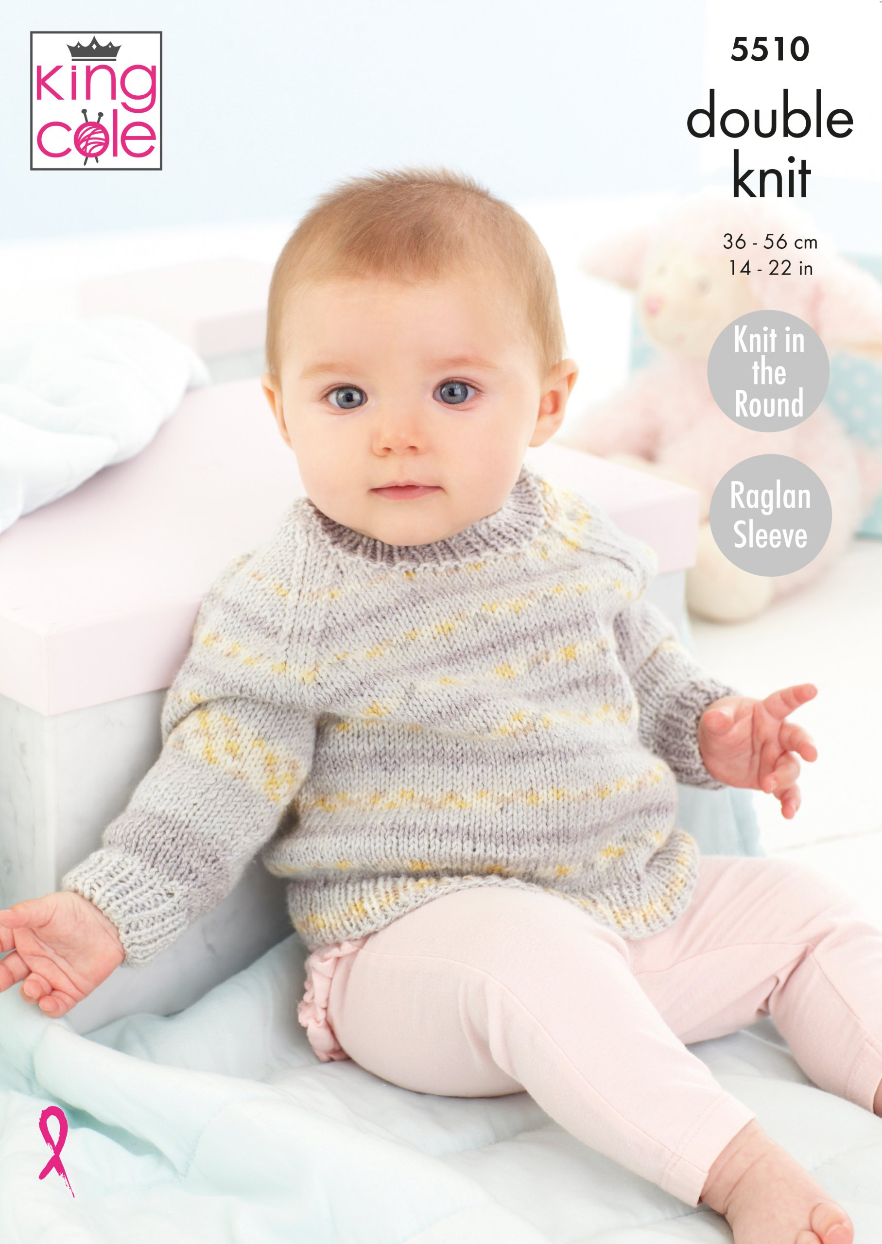 King Cole Double Knit Knitting Pattern Baby Raglan Sleeve Cardigans Sweater 5510